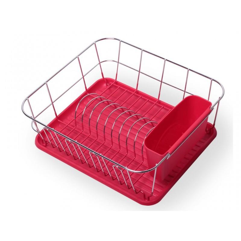 Сушилка для посуды Kamille 37x33x13.5cm Chrome-Red KM-0763B
