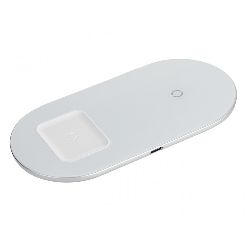 Зарядное устройство Baseus Simple 2in1 Wireless Charger 18W Max For Phones + Pods White WXJK-02