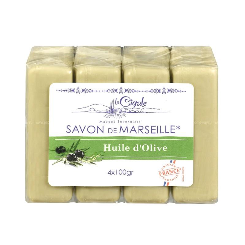 Мыло марсельское La Cigale с оливой 4шт по 100g 50445