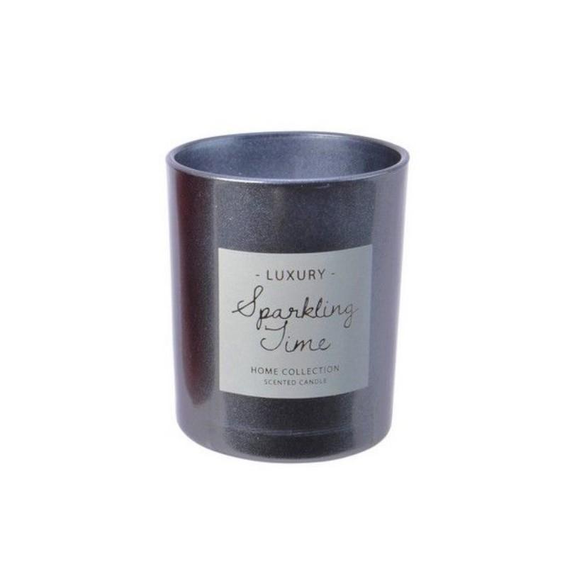 Ароматическая свеча Kaemingk Сверкающее время Снежный аромат 8.5cm Metallic 212531/165391
