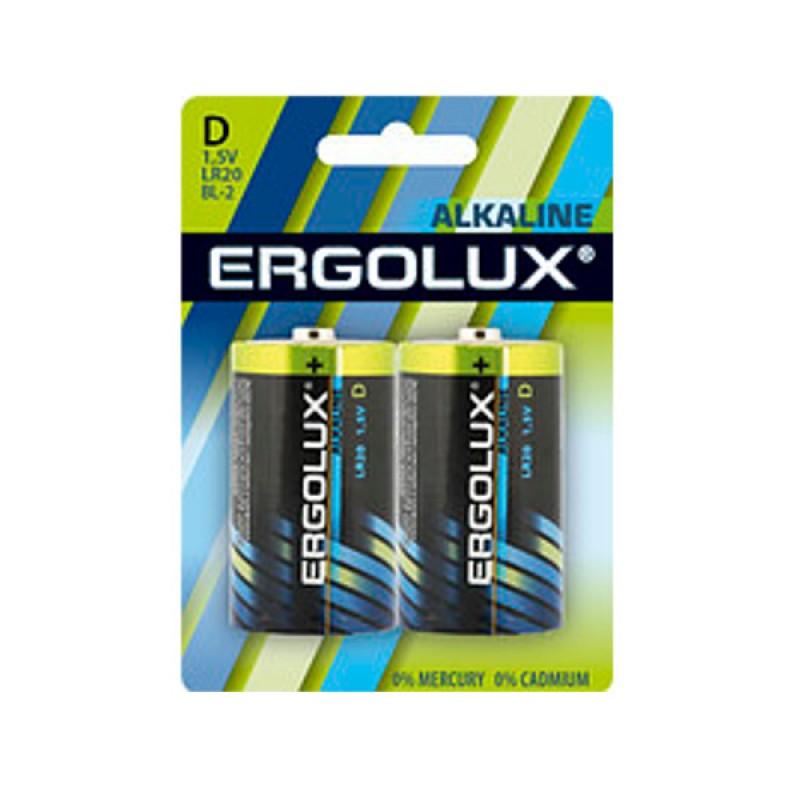 Батарейка D - Ergolux LR20 Alkaline (2 штуки)