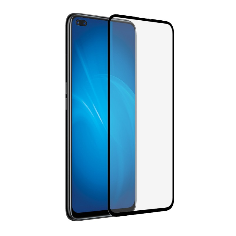 Закаленное стекло DF для Realme 6 Pro Full Screen Full Glue Black Frame rmColor-08