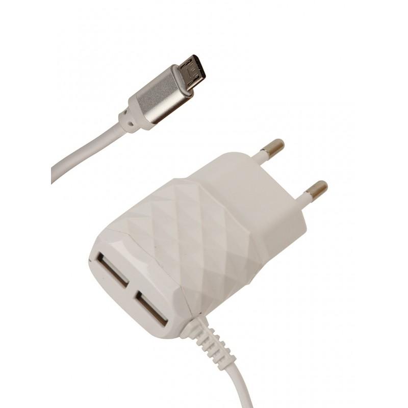 Зарядное устройство Red Line NC-2.1AC 2xUSB + MicroUSB 2.1A White УТ000013630