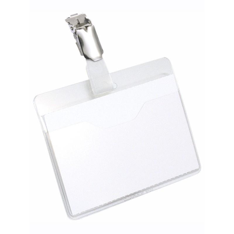 Бейдж Durable 60x90mm горизонтальный зажим+клип ПВХ Transparent 8106-19