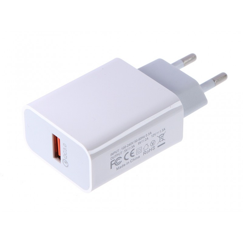 Зарядное устройство Media Gadget HPS-QCX USB 3.1A Quick Charge 3.0 White MGHPSQCXWT