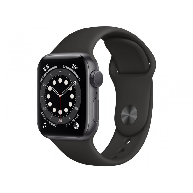 Умные часы APPLE Watch Series 6 40mm Space Grey Aluminium Case with Black Sport Band MG133RU/A
