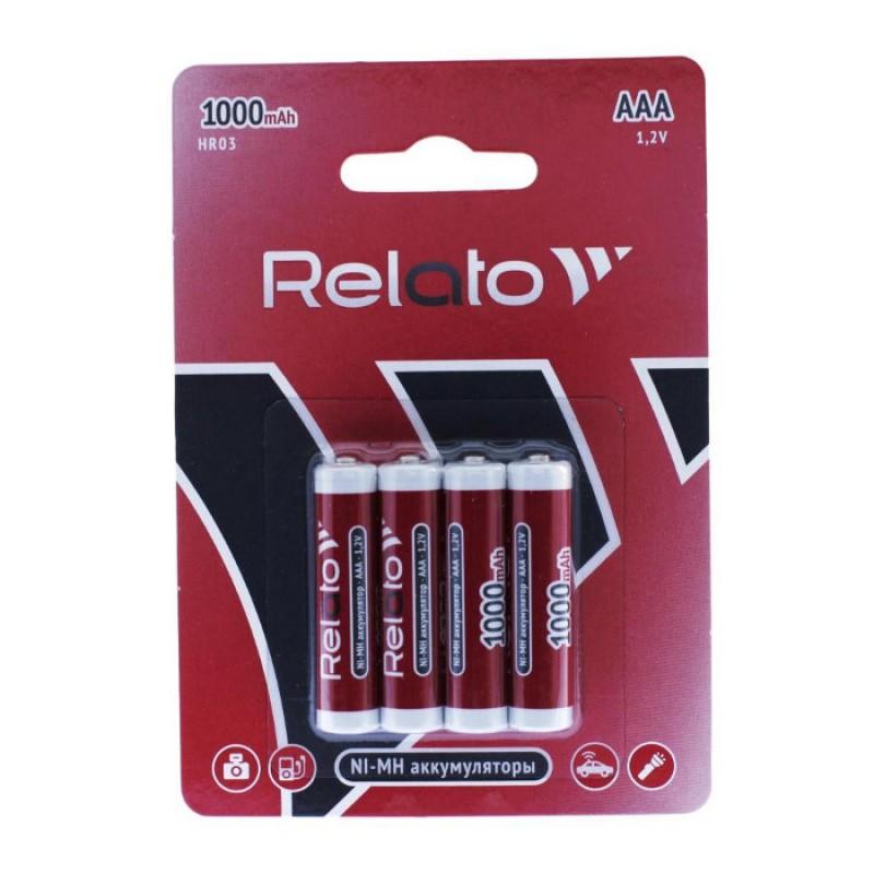 Аккумулятор AAA - Relato HR03 AAA1000 Ni-MH 1000 mAh (4 штуки)