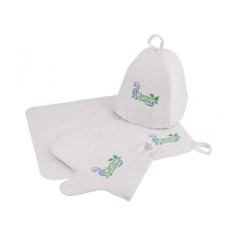 Набор для бани Банная линия С легким паром!: шапка, коврик, рукавица 11-371