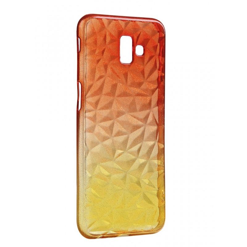 Чехол Krutoff для Samsung Galaxy J6 Plus SM-J610 Crystal Silicone Yellow-Red 12261