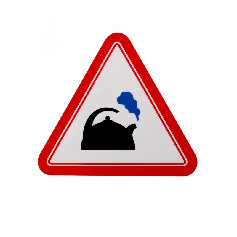 Наклейка на авто Знак Чайник треугольная внутренняя 17x19cm 00260