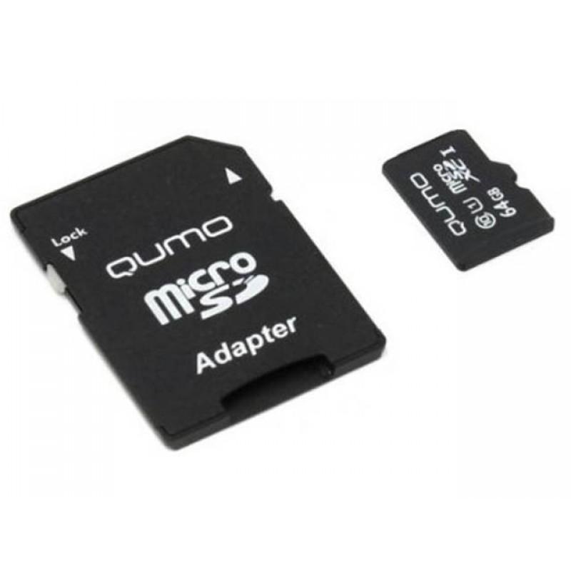 Карта памяти 64Gb - Qumo MicroSDXC UHS-I U3 Pro Seria 3.0 QM64GMICSDXC10U3 с адаптером SD